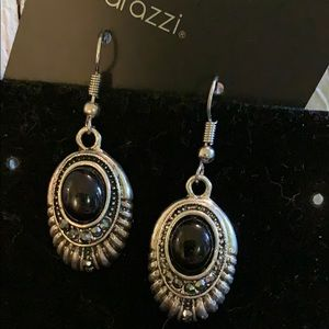 Black Crystal Oval Earrings